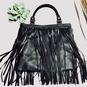 Vegan leather fringe bag